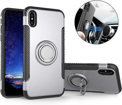 Mosoris Custodia per iPhone X Magnetica Cerchio Ring Holder Cover, Multiuso TPU PC Dual Layer Protettiva Caso Case con Anello Grip Holder Rotazione ...