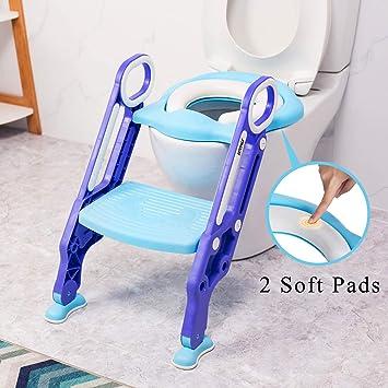 VETOMILE Asiento de Orinal Ajustable para Bebés/Niños, Aseo Escalera de Inodoros para Entrenamiento de Baño para Niños con Cojín de Esponja, Silla de Formación de WC para Bebés, Color Azul y Violeta: