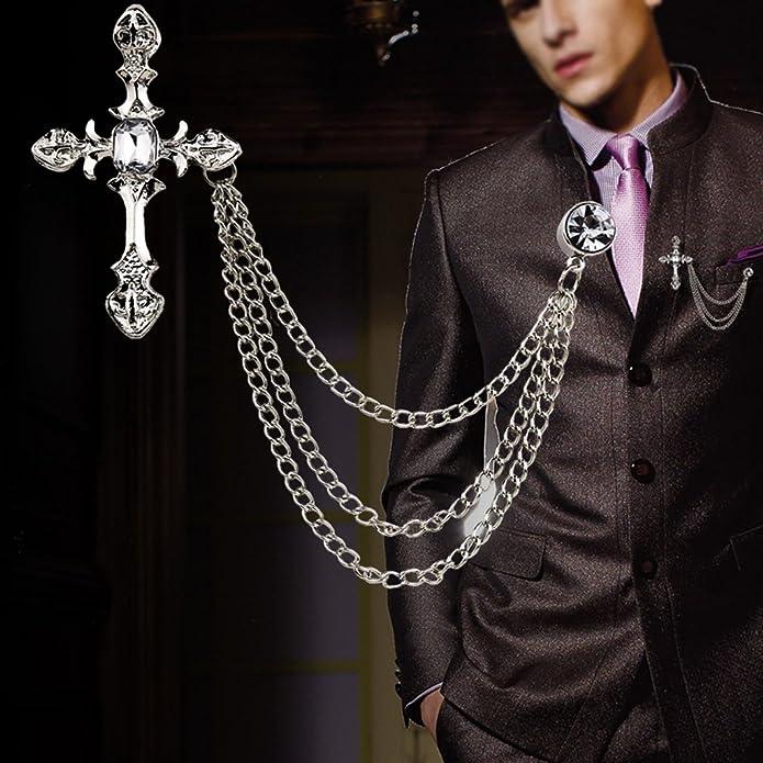 zhiounny Mens Rhinestone Cross Chain Brooch Lapel Pin Shirt Suit Wedding Accessory Gift Brooch Jewelry