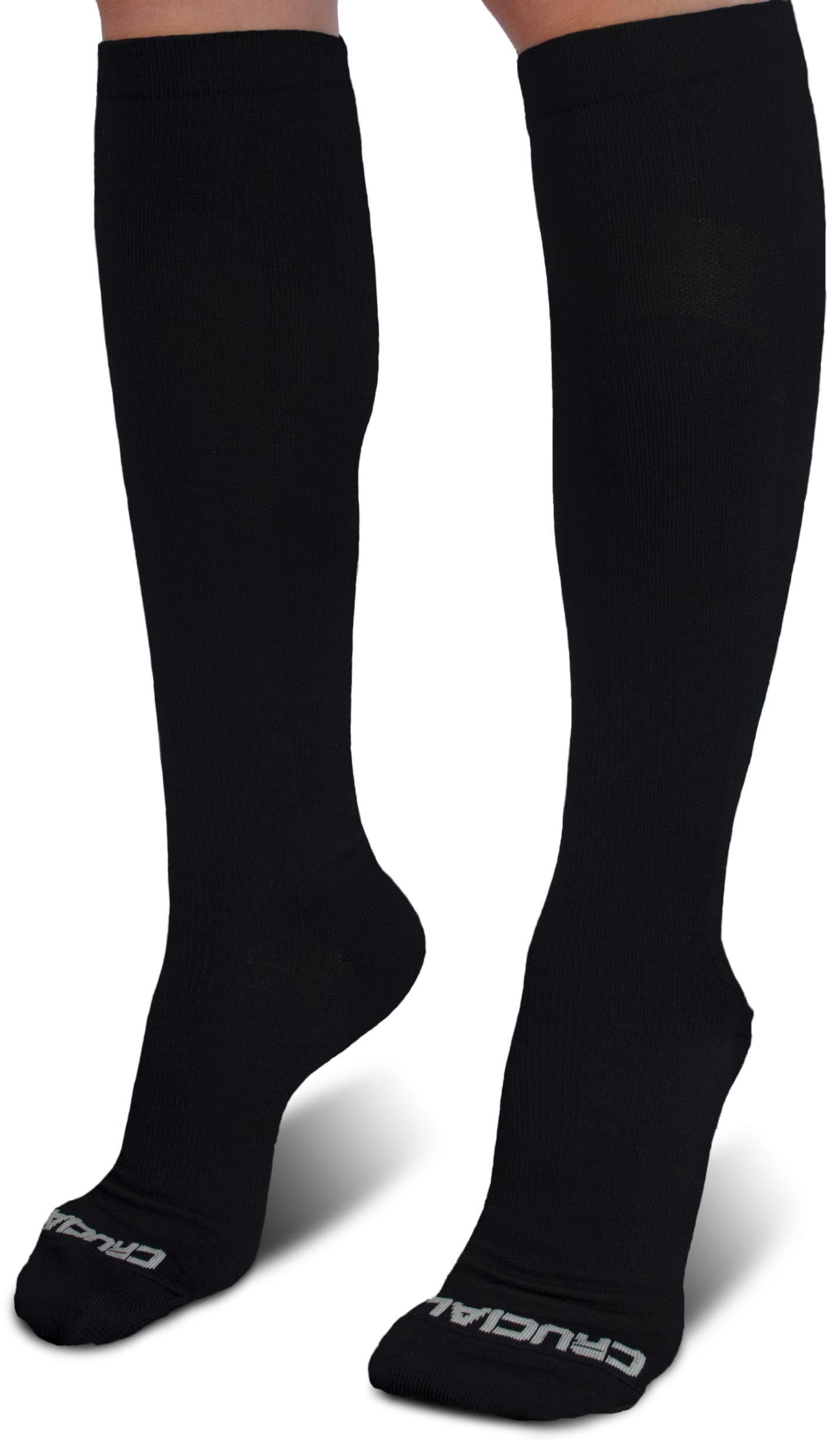 Pro Compression Socks for Men & Women (20-30mmHg) - Best Graduated Stockings for Running, Athletic, Stamina, Travel, Flight, Pregnancy, Maternity, Nursing, Medical (L/XL, Solid Black)