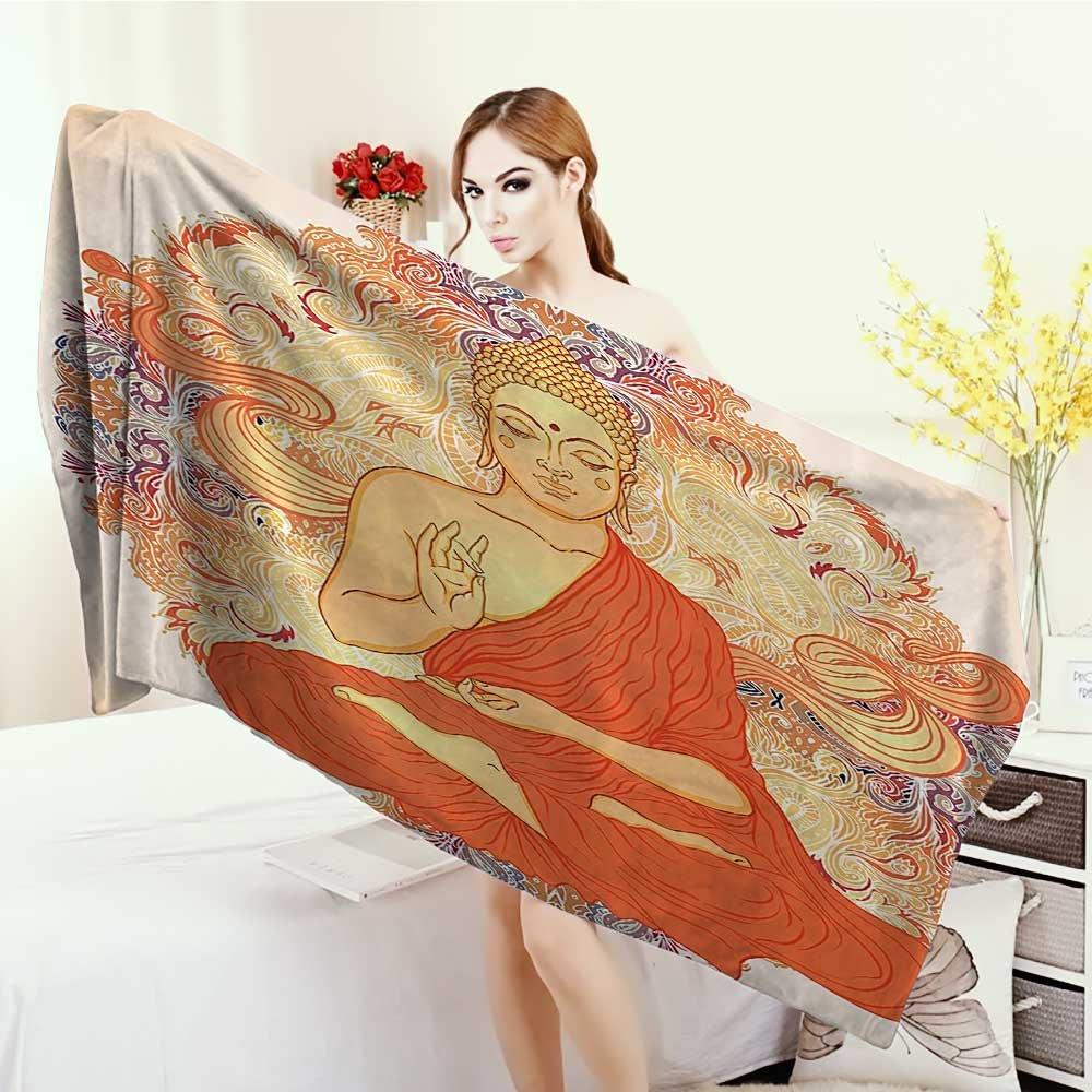 Anhounine Customized bath Towels Orange Yoga Meditation Aura Thai Temple Ornamental Motive Spiritual Design Print Print fancy towels 63''x31.5'' Orange Purple by Anhounine