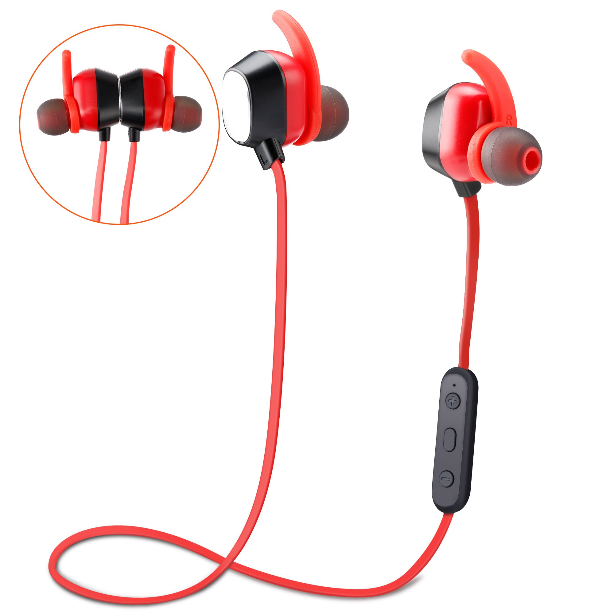 Bluetooth Headphones, YYQ Wireless 4.2 Magnetic Earbuds Magnetic Sweatproof Stereo Earphones for Sports with Built in Mic 6h Play Time Noise Cancelling - Red by YYQ