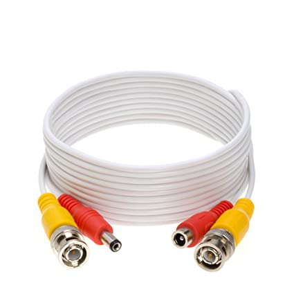 amazon com 10ft white premade bnc video power cable wire for