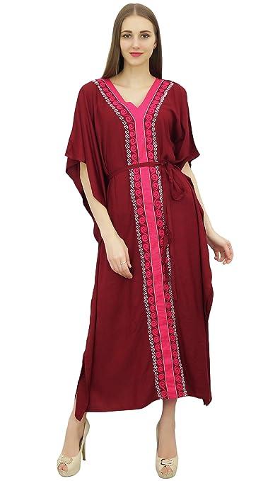 Bimba Vestido largo con estampado de kimono granate de Vestido largo con estampado de kaftan de trabajo de Aari Work: Amazon.es: Ropa y accesorios