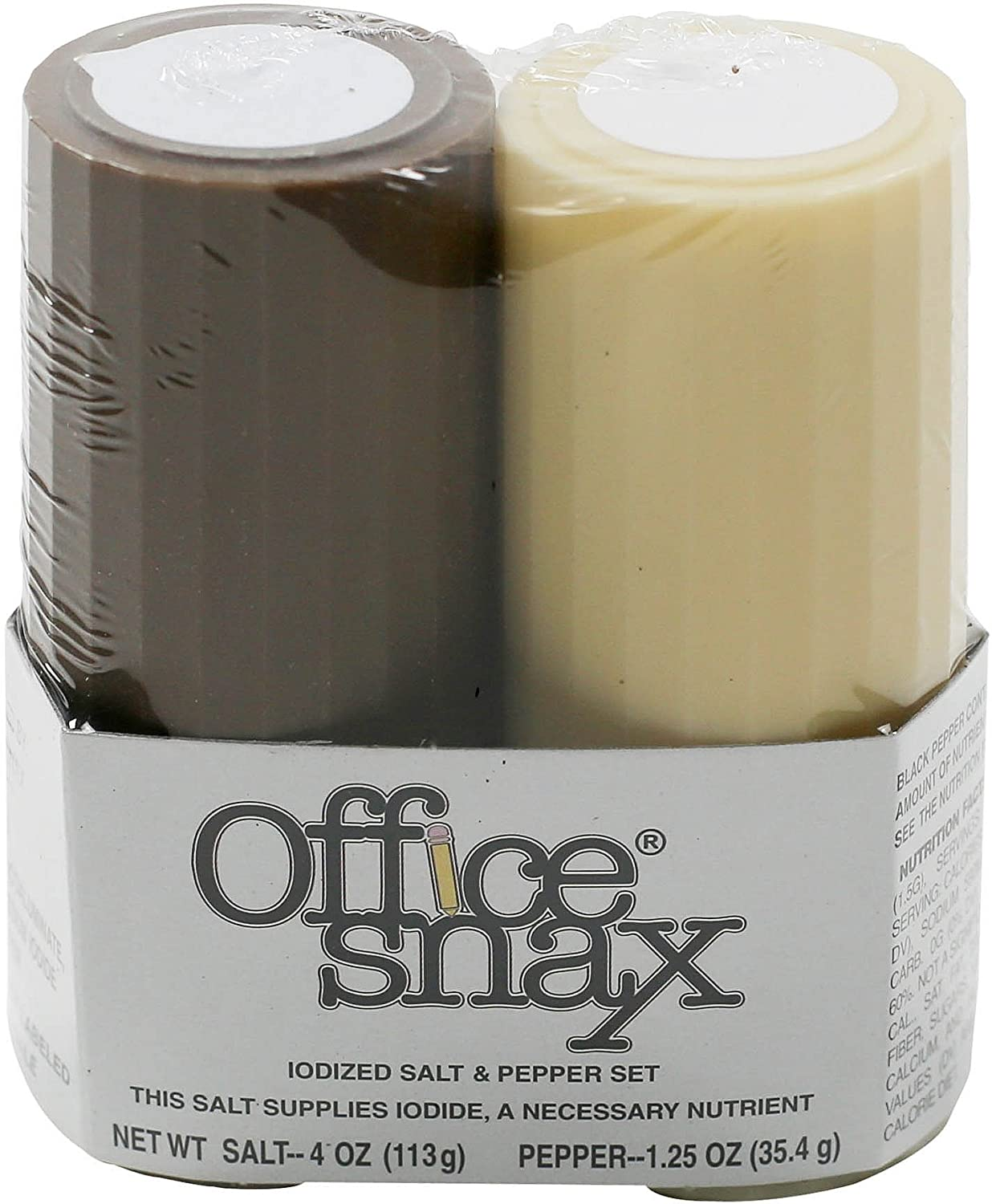 Office Snax OFX00057 Salt and Pepper Shaker Set, One 4-Ounce Salt Shaker and One 1.25-Ounce Pepper Shaker
