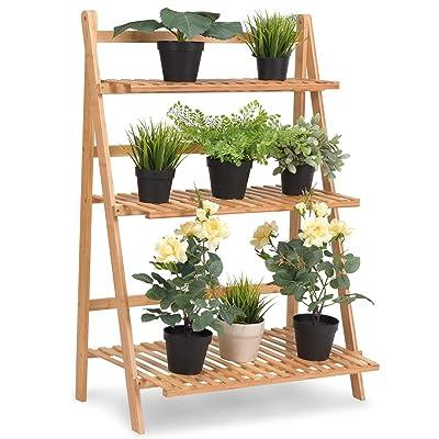 "Giantex Plant Flower Stand Rack Shelf 3-Tier Bamboo Foldable Pot Racks Planter Organizer Display Shelves, 27.6"" x15.7"" x 38.2"" (Natural) : Garden & Outdoor"