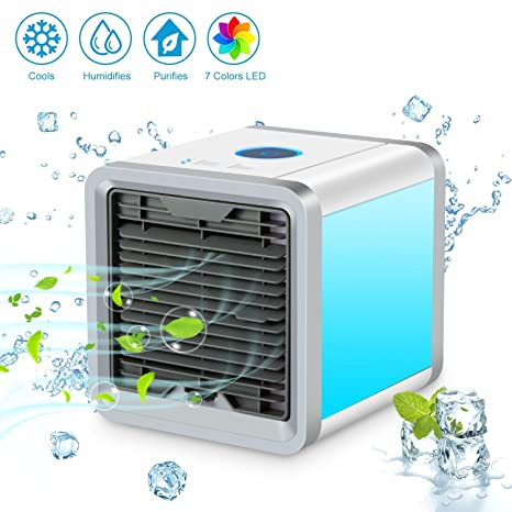 Superbe SENDOW Mini Desk Air Conditioner, USB Portable Personal Space Air Cooler  Humidifier Purifier With 7