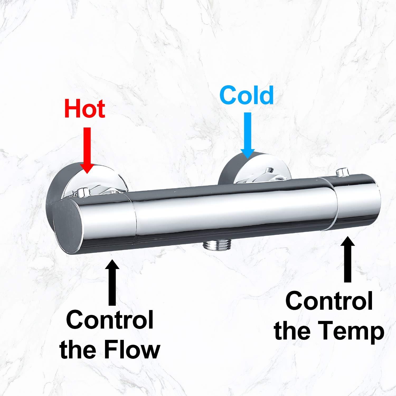 Messing Brausethermostat mit 38℃ Sicherheitssperre Chrom Thermostat Mischbatterie f/ür Brause GEFI Duschthermostat Duscharmatur Thermostat Brausebatterie Brausethermostat Brausearmatur