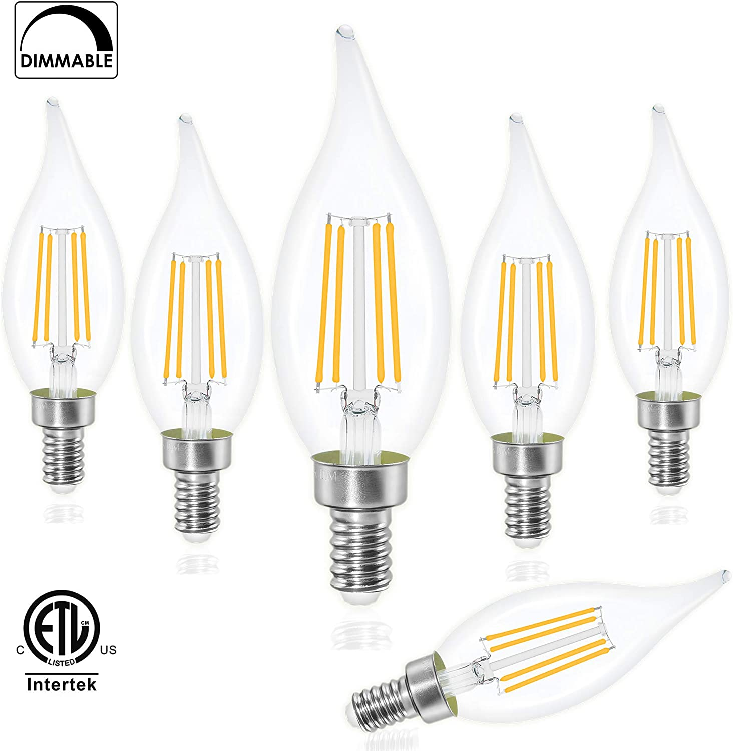 4000K Daylight White 600LM CA11 Flame Tip Vintage LED Filament Candle Bulb with Decorative Candelabra Base LED Chandelier Light Bulbs 6W 12-Pack E12 LED Candelabra Bulbs 60W Equivalent Dimmable
