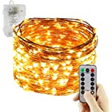 Led String Lights Battery Powered,ER CHEN(TM) 8 lighting model Waterproof 300 LED String Lights on 100 Ft Long Copper Wire with 13 Key Remote Control(Warm White)