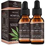 (2 Pack) Organic Hemp Oil Extract - 500,000MG Extra Strength - Organically Grown in USA - Natural Dietary Supplement - Non-GM