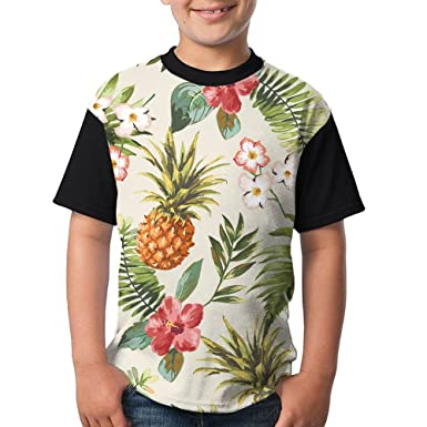 2314946cef Amazon.com  Ugffgfreufh Seamless Tropical Flowers with Pineapple Child  Funny Boys Short Sleeve Young T-Shirt Black  Clothing