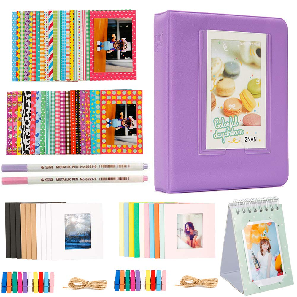 Annle Accessoires d'album Photo 3 Pouces 64 po pour Mini-camé ra Instax Fujifilm/imprimante Photo HP Sprocket/Polaroid Snap, Z2300, appareils Photo instantané s SocialMatic et Zip Instant Printe Accessoires d' album photo