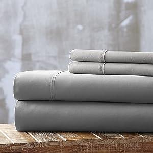 SPIRIT LINEN HOME Everyday Essentials 1800 Series 4PC Sheet Set, King, Grey