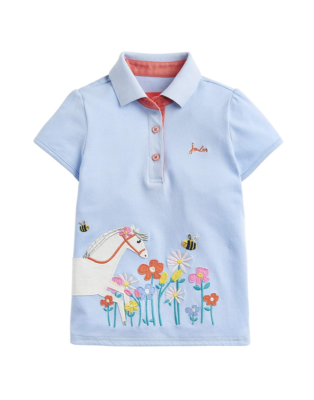 Joules Moxie Applique Polo Shirt Blue Horse Flowers