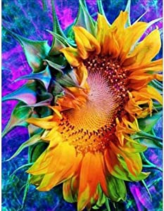 DIY 5D Diamond Painting Kit, Full Diamond Sunflower Embroidery Rhinestone Cross Stitch Arts Craft Supply for Home Wall Decor 11.8x15.8 inch
