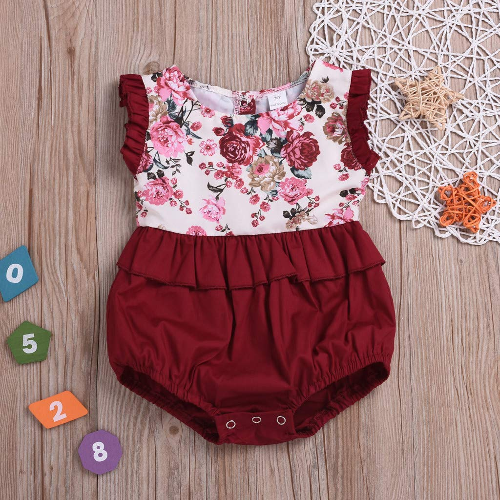 UCQueen Rompers for Girls Summer Toddlers Infant Baby Kids Sleeveless Floral Romper Sister Matching Outfits