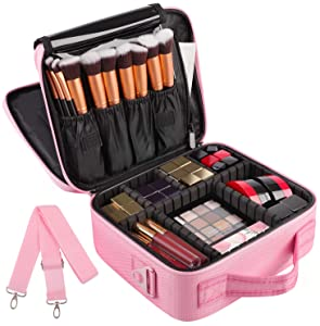 Kootek 2-Layers Travel Makeup Bag, Portable Train Cosmetic Case Organizer with Mirror Shoulder Strap Adjustable Dividers for Cosmetics Makeup Brushes Toiletry Jewelry Digital Accessories