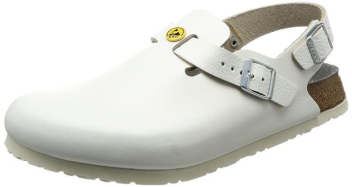 Birkenstock 61418-36-schmales Fußbett Schuh TOKIO Antistatik/Naturleder, Weiß, Größe 36