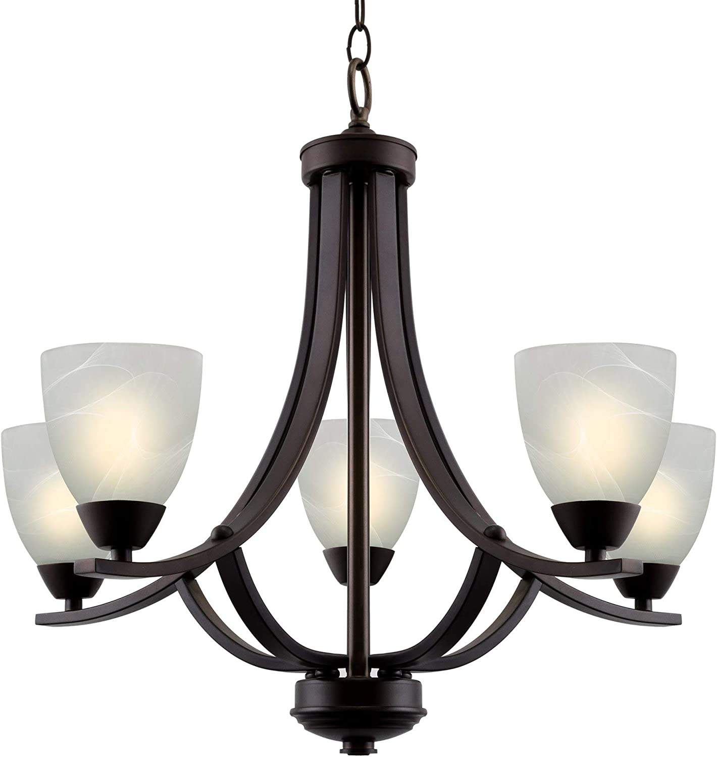 Kira Home Weston 24 Contemporary 5-Light Large Chandelier Alabaster Glass Shades, Adjustable Chain, Oil Rubbed Bronze Finish
