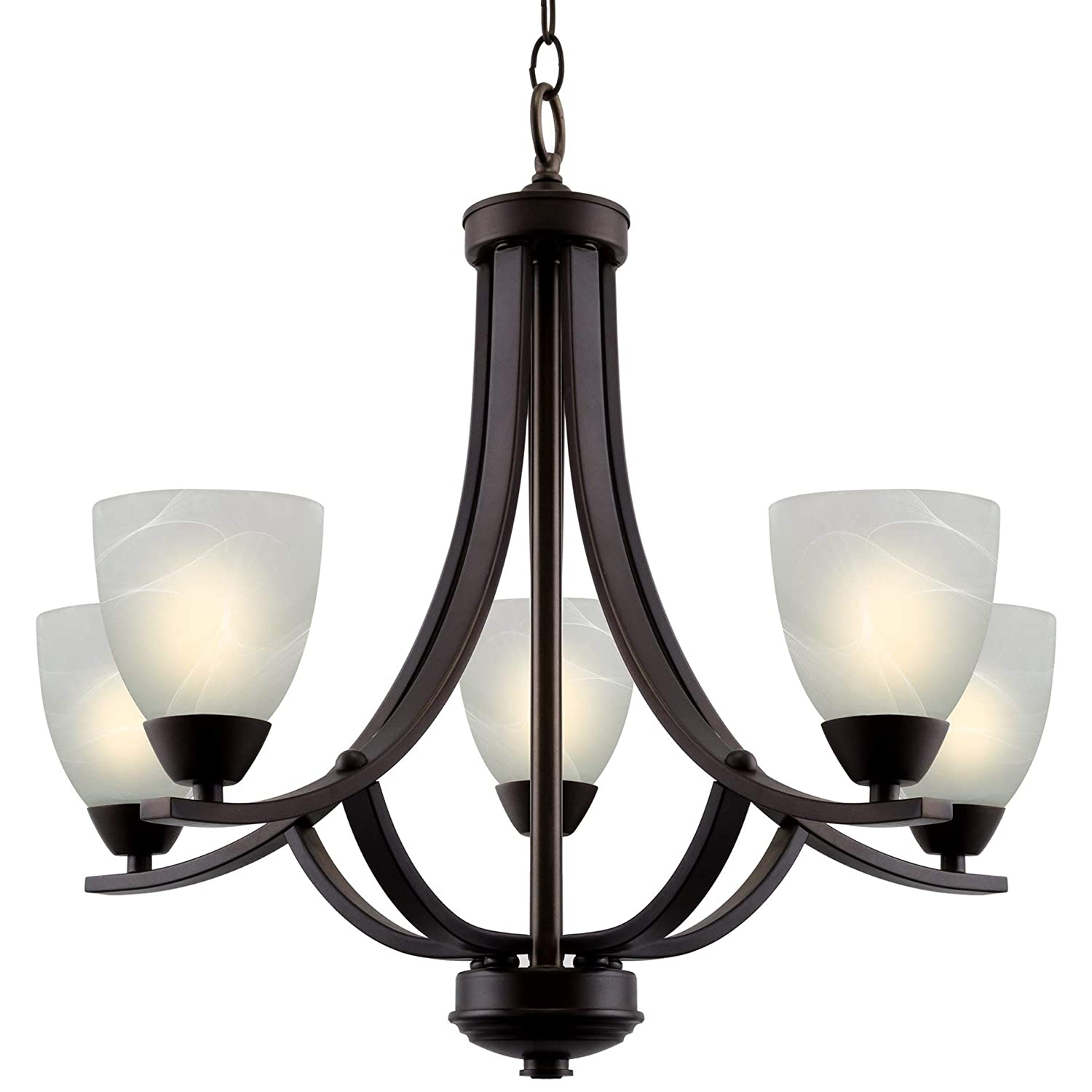 "Kira Home Weston 24"" Contemporary 5-Light Large Chandelier + Alabaster Glass Shades, Adjustable Chain, Oil Rubbed Bronze Finish"