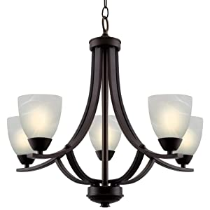 """Kira Home Weston 24"""" Contemporary 5-Light Large Chandelier + Alabaster Glass Shades, Adjustable Chain, Oil Rubbed Bronze Finish"""
