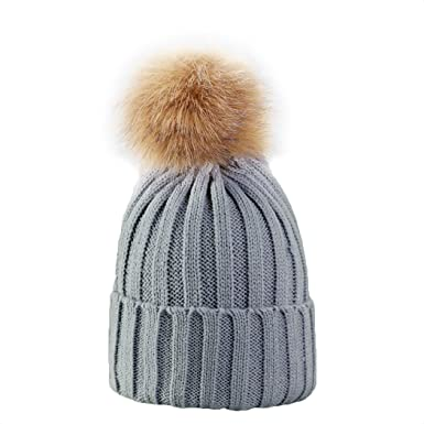 e643c3b14e7 Little Hand Womens Girls Pom Hats Marl Chunky Knit Winter Bobble Snowboard  Hat with Fleece Thinsulate Lining Grey  Amazon.co.uk  Clothing