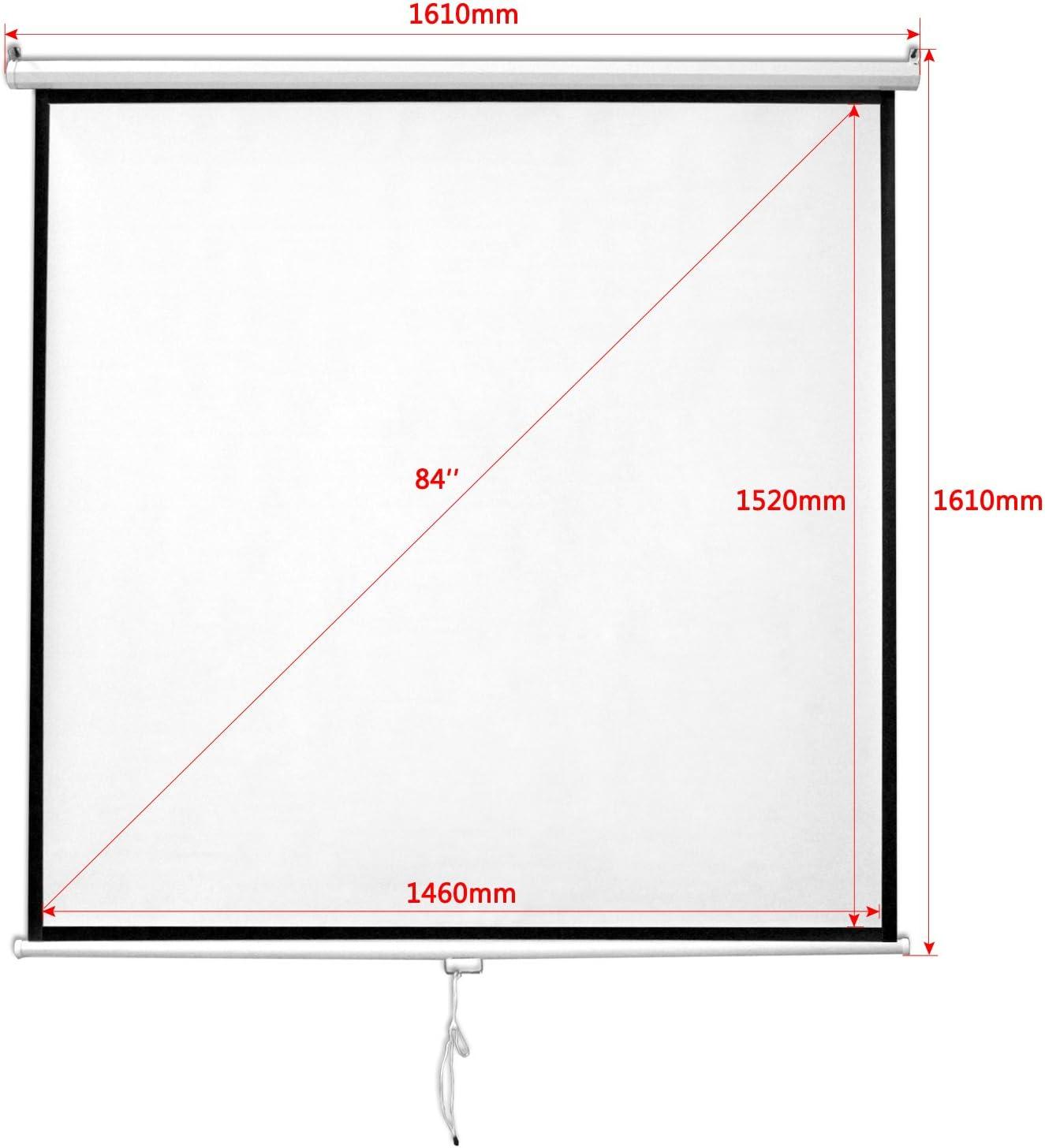 16:9 HENGMEI Beamer Leinwand Rolloleinwand projektionsleinwand 84//99 Zoll Nutzfl/äche- Format 1:1 84 Zoll 4:3 Heimkino Business Leinwand wandmontage und deckenmontage