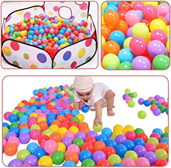 Gaorui 200 Pcs Balls Pit Balls Colorful BPA Ocean Ball Free Crush Proof with Mesh Bag for Toddlers Baby Playpen Bouncy Castles Tent Play House Swim Pool Toys(Not Include Ball Pit)