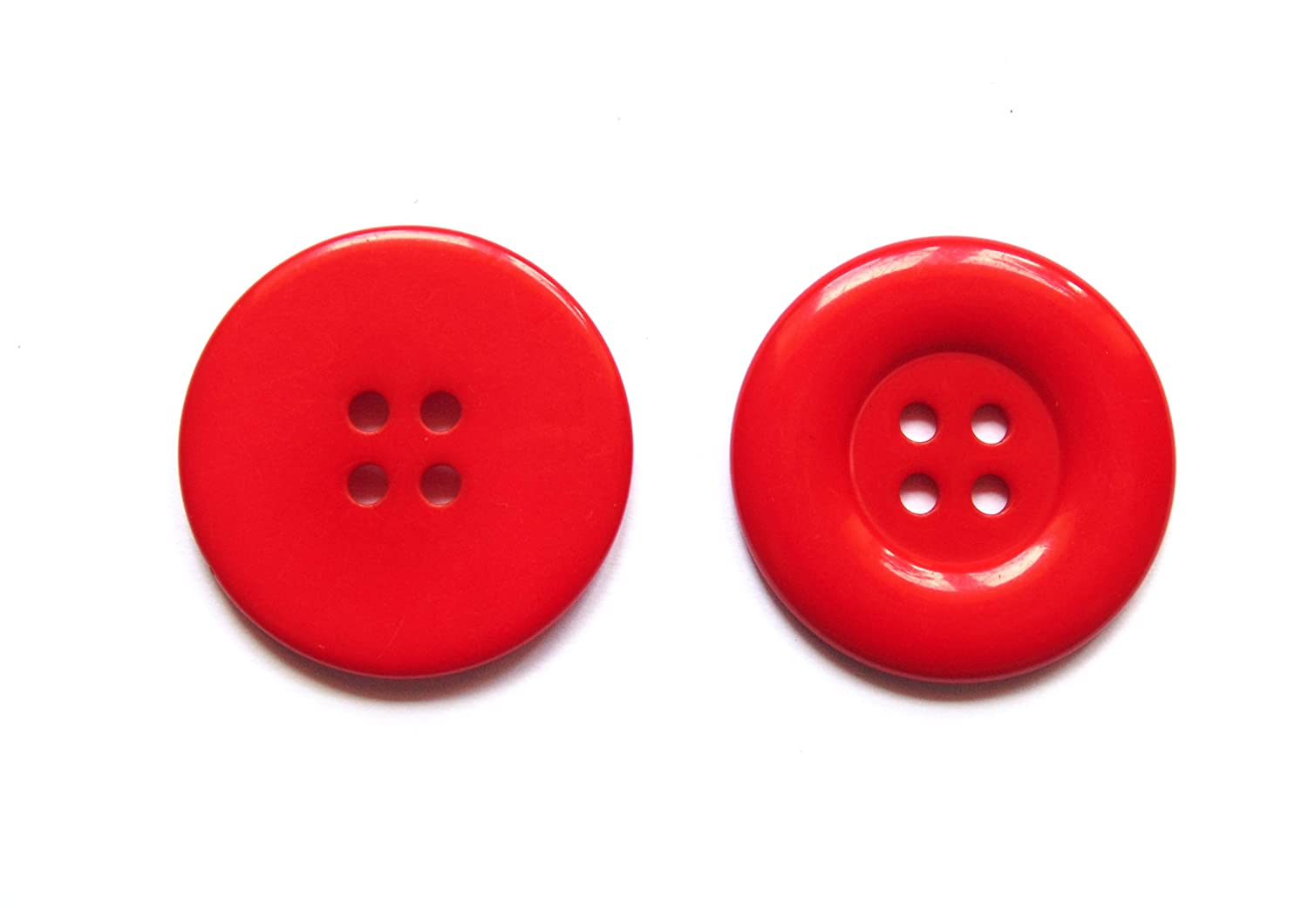 10 x 35mm Large Round Buttons (Red) Button Craft UK