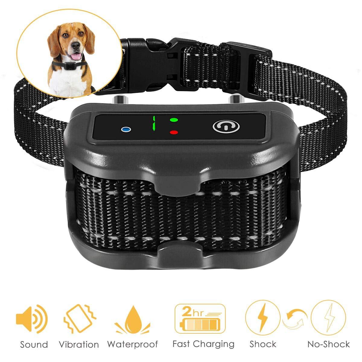 ELenest Bark Collar, 2019 Upgraded Smark Barking Control Device, Adjustable Vibration, Shock Sensitivity Level, Rechargeable Waterproof, Barking Detection for Small Large Dog, No Bark Collar