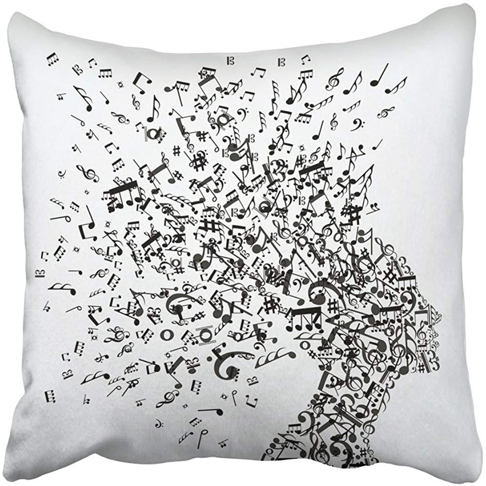 Throw Pillow Cover Square 18x18 Inches Black Abstract Music Notes Splash From Woman's Head White Clef Human Power Technology Bass Treble Polyester Decor Hidden Zipper Print On Pillowcases