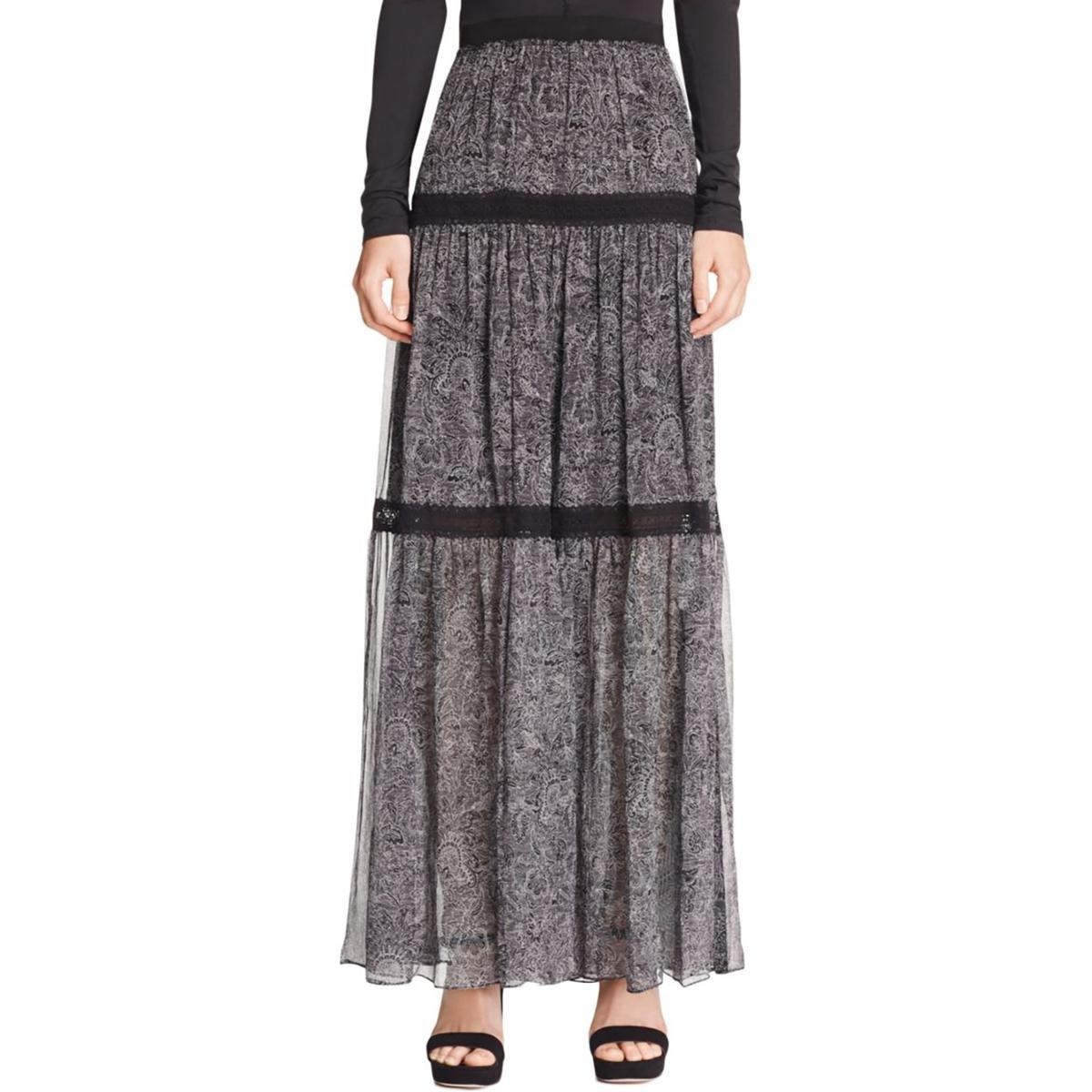 Elie Tahari Womens Arlington Silk Tiered Maxi Skirt Black XL