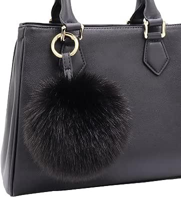 Aiphamy Faux Fur Pom Pom Keychain Purse Bag Charm Fluffy Ball Key Chain for Women