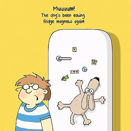Twizler Carte Humoristique Avec Chien Garçon Et Aimants De