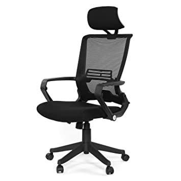online store 1daf4 1a3f7 GreenForest Ergonomic Office Chair High Back Mesh Computer Chair with  Adjustable Headrest and Foldable Mesh Back, Easy Assembled Black Desk Chair