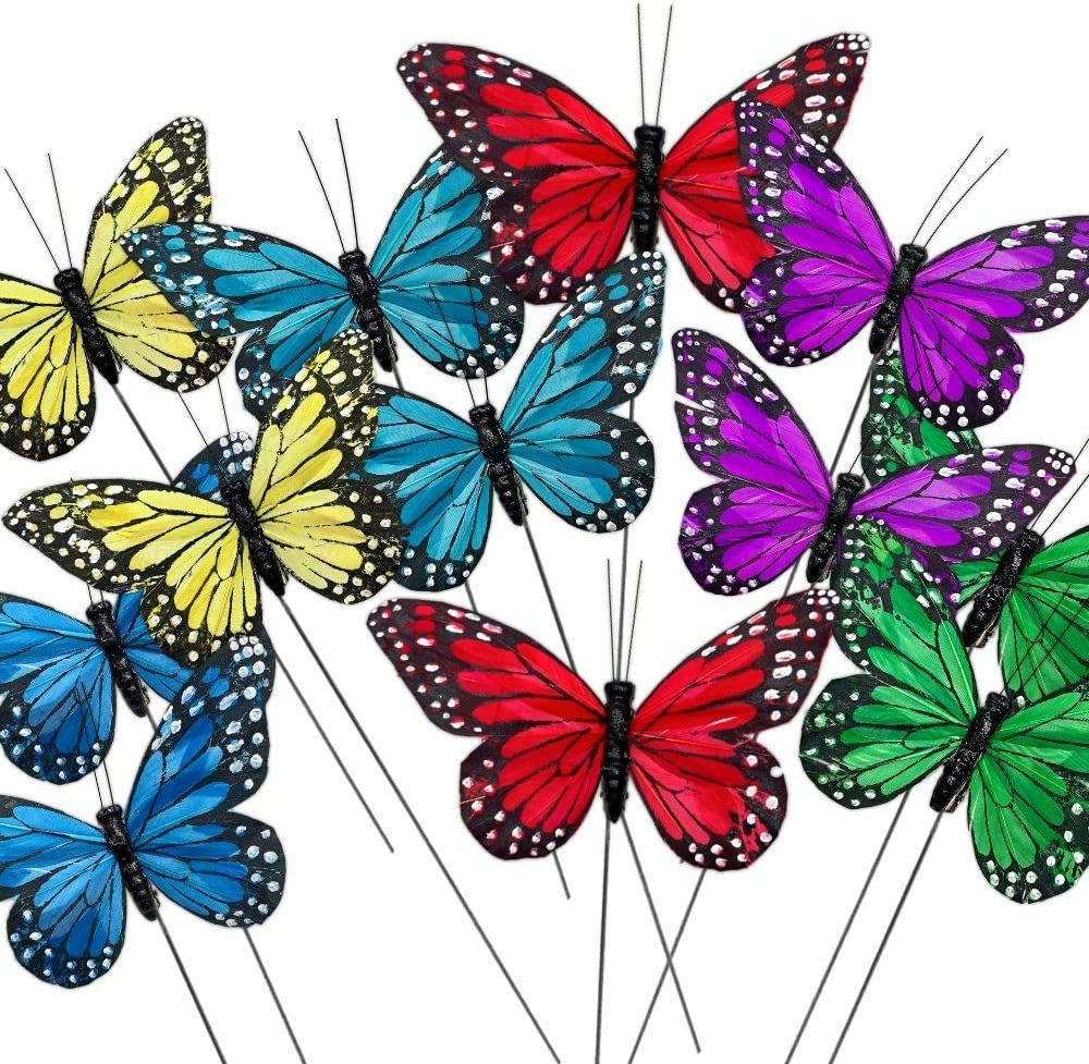 BANBERRY DESIGNS Butterfly Decorations – Set of 12 Vibrant Multi Colored Craft Butterflies on Wire Stems - Party Spring Home Decor Floral Pics - Monarch Style