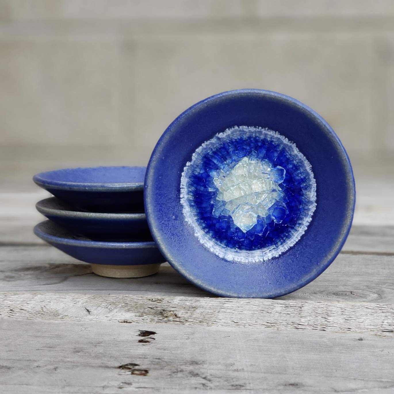 Dock 6 Pottery Soap Dish Candle Holder Kerry Brooks Pottery Crackle Glass GEODE RING DISH: Individual Geode Ring Dish in BLUE Fused Glass Dish Trinket Dish