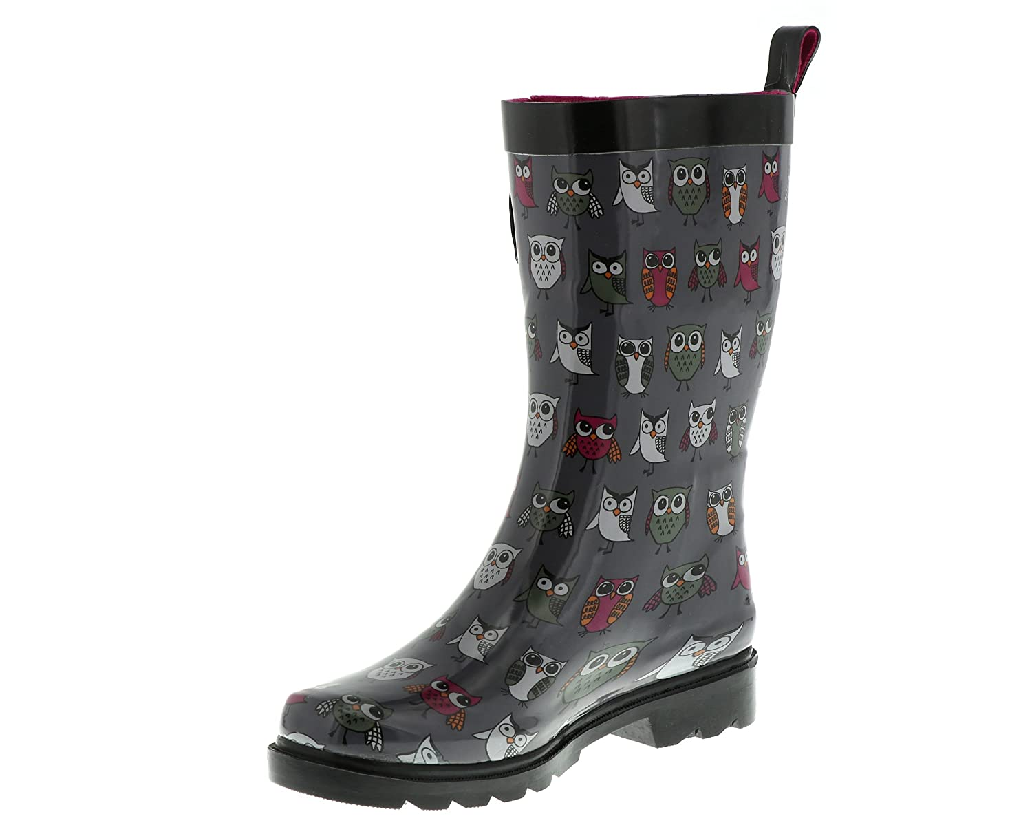 Capelli New York Pop Owls Printed Ladies Short Rubber Rain Boot RBT-3691-GY CMB-6