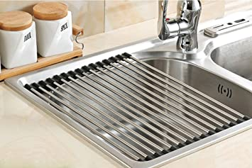 Myliffri Dish Rack Roll Up Dish Drying Rack Stainless Steel Over The Sink  Drainer Multipurpose