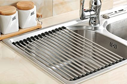 Exceptionnel Myliffri Dish Rack Roll Up Dish Drying Rack Stainless Steel Over The Sink  Drainer Multipurpose