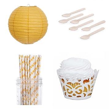 Vestido mi Cupcake láser corte wrappers cuadro de postre para fiesta con linternas, amarillo diseño