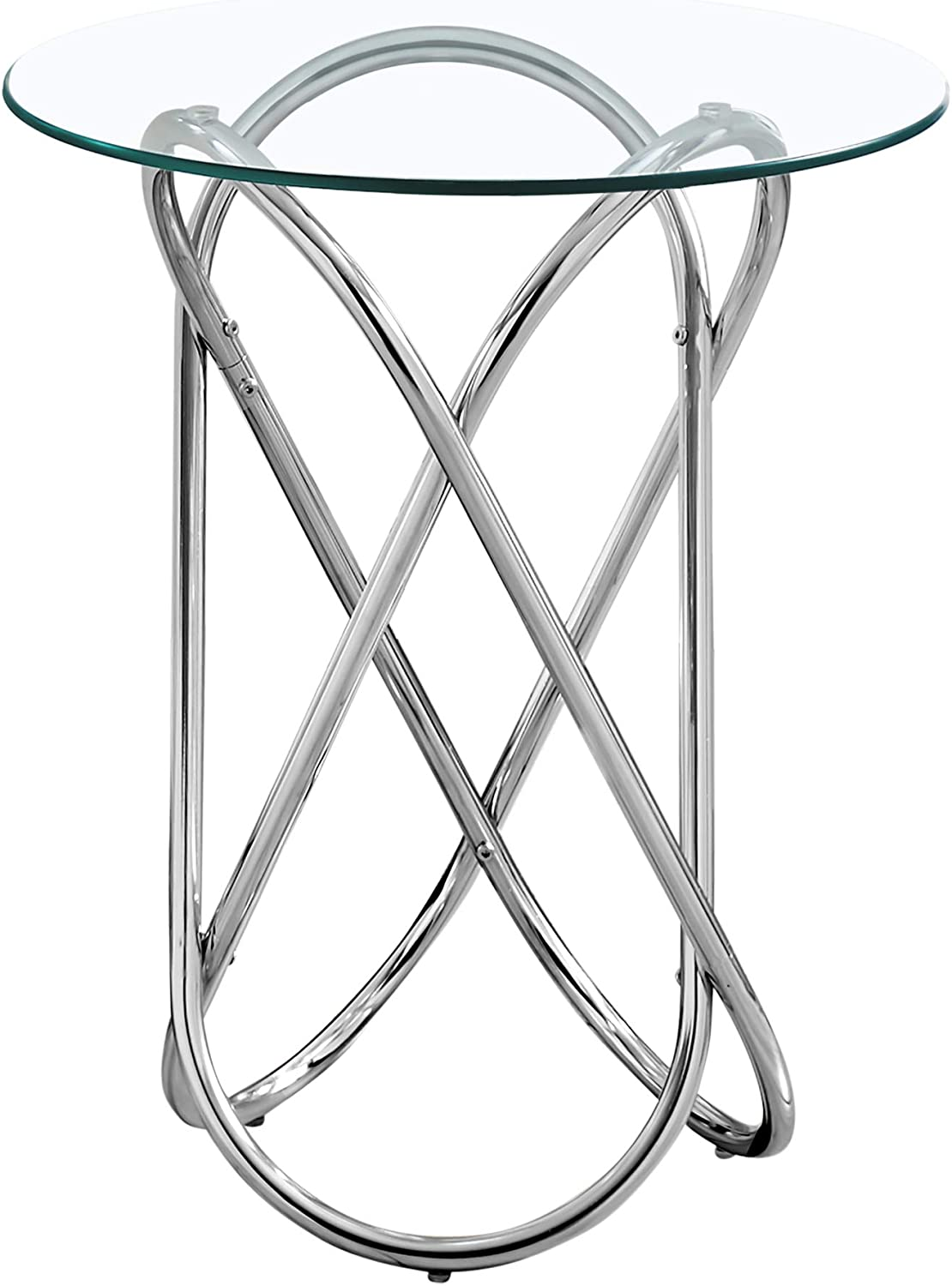 Chrome Monarch Specialties I 3310 Round Side End Accent Table Metal Base Oval Shape for Living Room Side Table 20