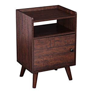 HOOBRO End Table, Side Table for Small Spaces, 3-Tier Nightstand with Door, Wood Look Accent Table, Stable and Sturdy Construction, Walnut Color