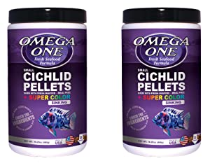 Omega One Super Color Cichlid Pellets Small Sinking 16.25 oz 2 pack