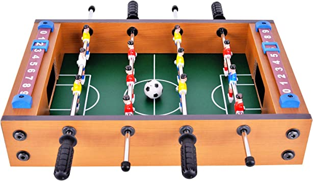 WIN.MAX Juego de Mesa de fútbol Futbolin Foosball Juego de Tablero de MDF Tablero de Mini Tamaño 12 Jugadores (New): Amazon.es: Juguetes y juegos