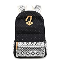 LaTEC Casual Canvas Backpack Daypack Travel Shoulder Bag School Satchel for Teenage Girls Boys (Black)