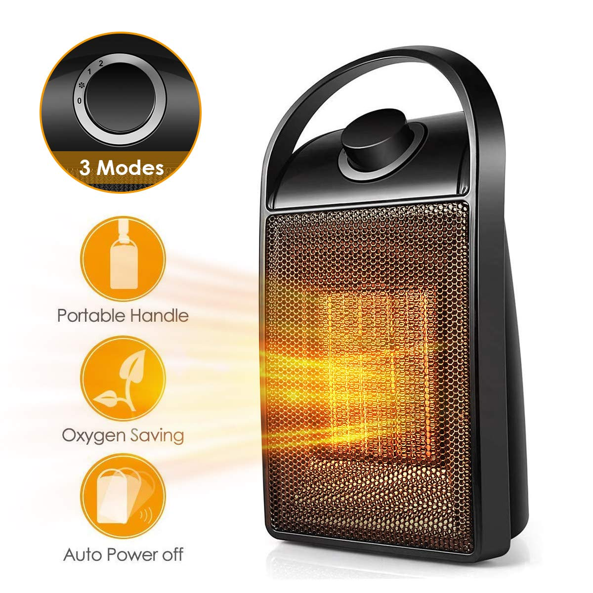Space Heater, Portable Quiet Ceramic Space Heater , Mini Desk Personal Heater with Tip-Over Over-Heat Protection, Perfect For the Home or Home