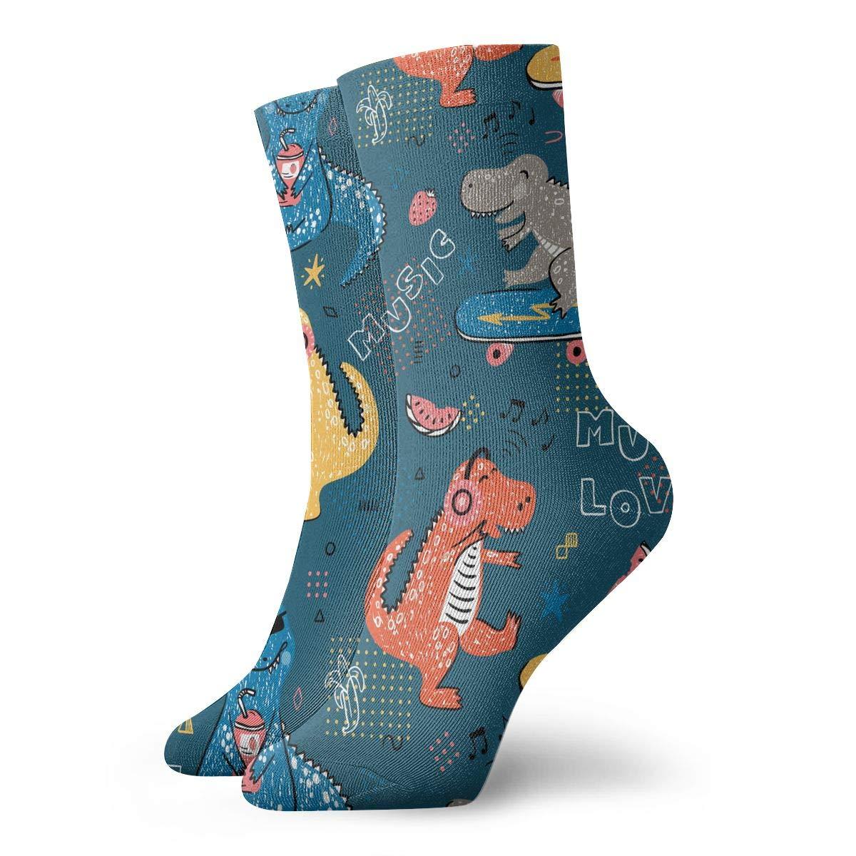 Women Men Music Lover Dinosaur Pattern Athletic Ankle Socks