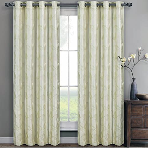 Pair of Two Embroidered Lined Top Gromment Curtain Panel